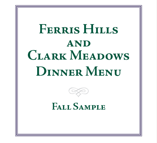 Ferris Hills Sample Dinner Menu - Fall